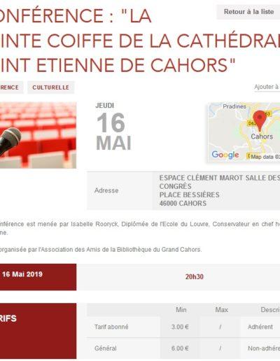 16 mai Conférence Sainte Coiffe