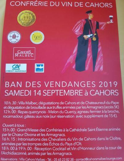 Samedi 14 septembre - Confrérie des Vins de Cahors